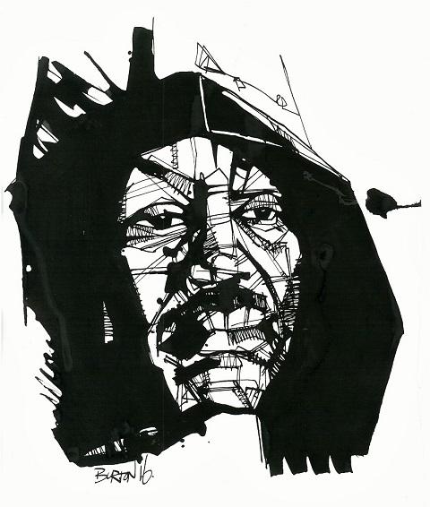 Smokin' Joe Frazier: Ink drawing by Damien Burton.
