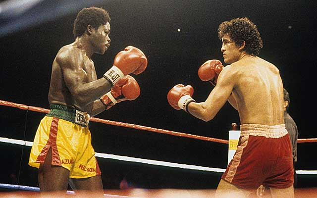 In his final fight, Sanchez turns back the challenge of Azumah Nelson.