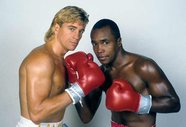 Donny Lalonde poses with Sugar Ray Leonard