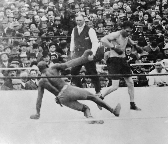 Jack Johnson and Stanley Ketchell Fighting in Ring