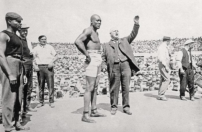 Johnson being introduced to the hostile crowd.