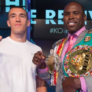 "TORONTO, ONTARIO - AUGUST 5, 2015 - Tommy ""Kryptonite"" Karpency (left) and Adonis ""Superman"" Stevenson. World Championship Boxing will return to Toronto at the Ricoh Colisieum with a bout between Adonis ""Superman"" Stevenson who will defend his WBC Light Heavyweight title against Tommy ""Kryptonite"" Karpency (USA). Also on the bill will be Donovan ""Razor"" Ruddock vs Dillon ""Big Country"" Carman. All were on hand for the announcement at the Air Canada Centre on AUGUST 5, 2015.  Rick Madonik/Toronto Star        (Rick Madonik/Toronto Star via Getty Images)"