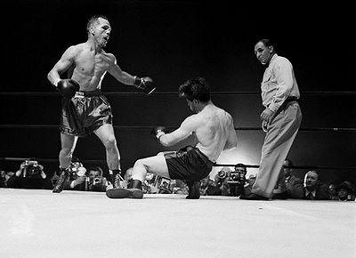 Zale knocking out Rocky Graziano.