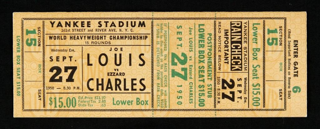 A ticket for the Louis Charles fight. 22, 357 people attended the bout.