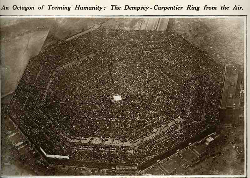 An aerial view of the massive stadium at Boyle's Thirty Acres.