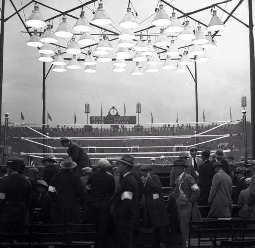 Fans start to gather in Soldier's Field prior to the bout.