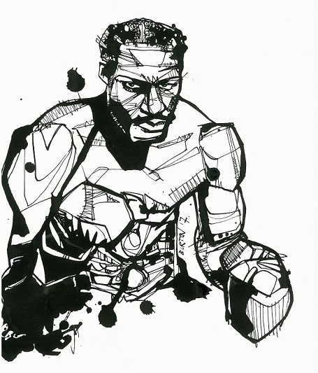 Ezzard Charles: Ink drawing by Damien Burton.