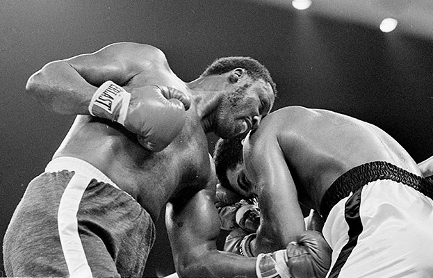 Frazier taking Ali to hell in the middle rounds.
