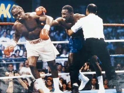 Dokes reels as Steele stops the fight.