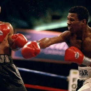 14 Nov 1998:  Sugar Shane Mosley (right) in action against Jesse James Leija during the fight at the Foxwoods Casino in Ledyard, Connecticut.  Mosley won the bout with a TKO in the ninth round. Mandatory Credit: Al Bello  /Allsport