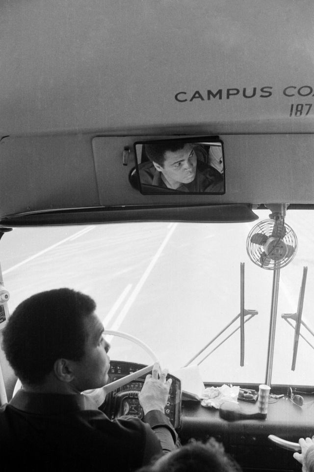 The champ enjoyed driving his entourage's bus