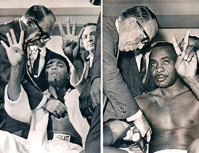 Clay and Liston at the weigh-in.