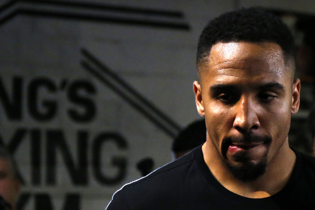 Two-time World Champion Andre Ward, of Oakland, pauses during shadowboxing inside the ring in preparation for his upcoming fight against undefeated and number one rated IBF light heavyweight Cuban contender Sullivan Barrera during a media day at King's Boxing Gym in Oakland, Calif., on Tuesday, March 22, 2016. Ward and Barrera will fight in a 12-round IBF number one position and mandatory position eliminatory Saturday, March 26, 2016, at Oracle Arena. (Ray Chavez/Bay Area News Group)