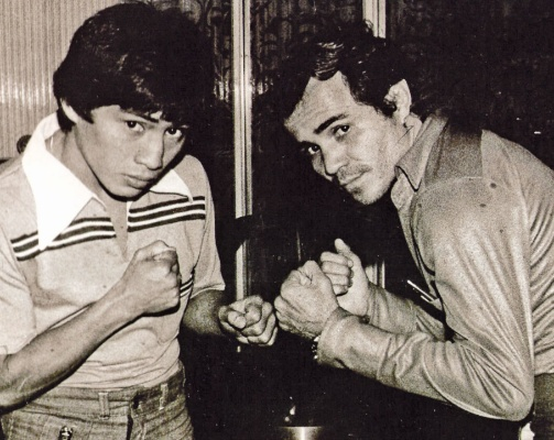 Gonzalez (right) poses with Guty.