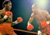 Undated:  Lloyd Honeyghan (right) of Jamaica in action during the World Championship Welterweight bout against Don Curry. Honeyghan won the World Title.  Mandatory Credit: Allsport UK /Allsport