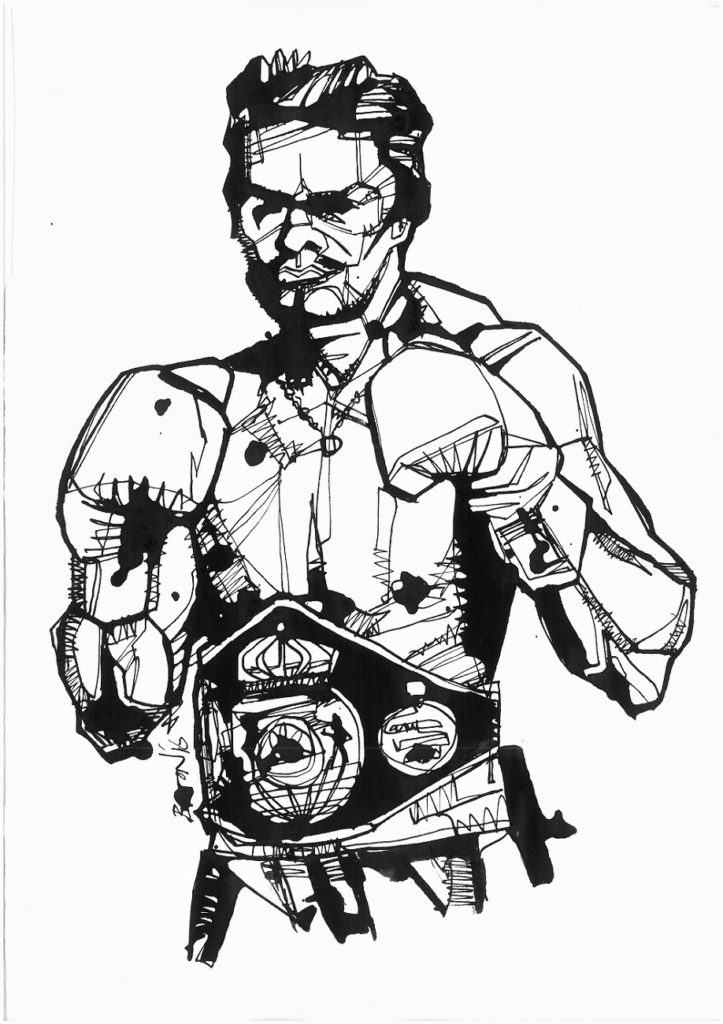 Roberto Duran. Ink drawing by Damien Burton.
