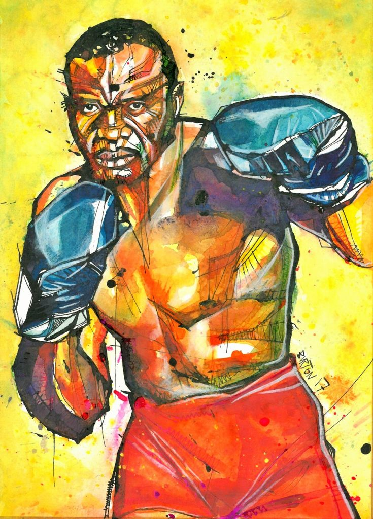 Sonny Liston. Painting by Damien Burton.