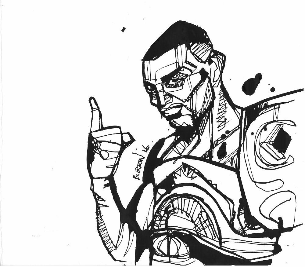 Prince Naseem Hamed: Ink drawing by Damien Burton.