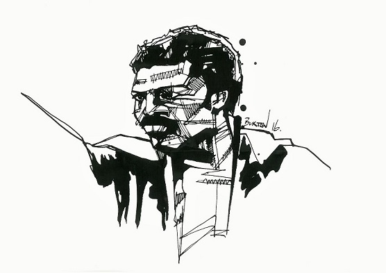 Aaron Pryor: Ink drawing by Damien Burton.