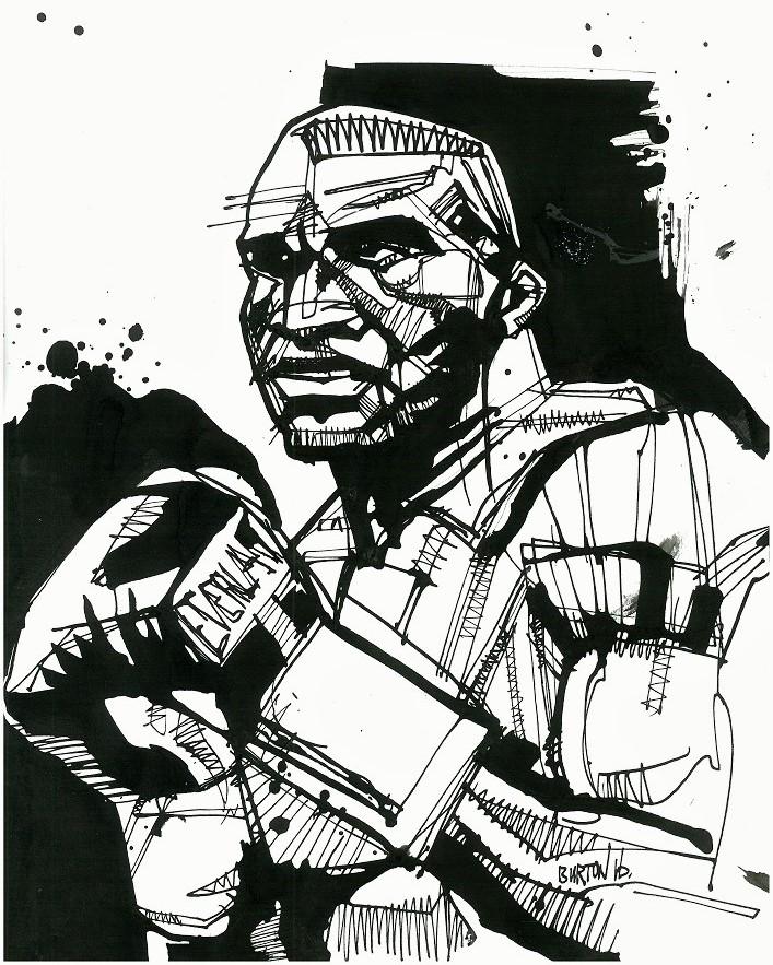 Evander Holyfield: Ink drawing by Damien Burton.