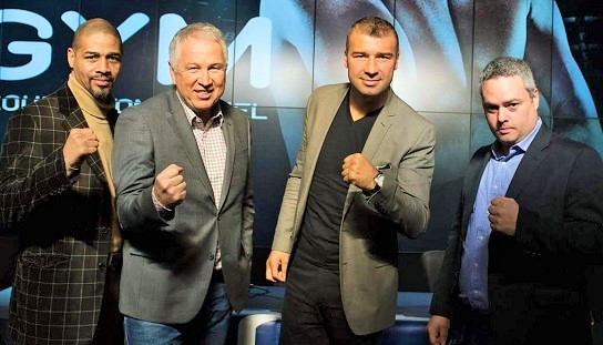 Howard Grant, Yvon Michel, Lucian Bute and Marc Ramsay at yesterday's press conference.