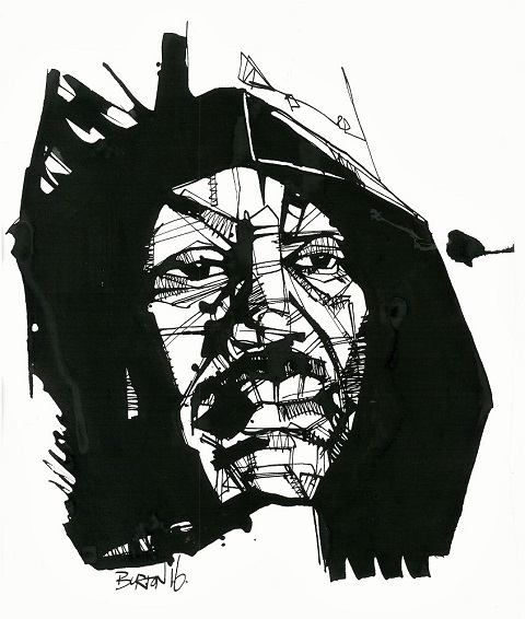 Smokin' Joe Frazier: Ink drawing by Damien Burton.