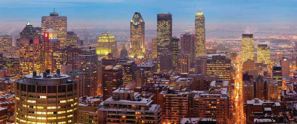 The skyline of downtown Montreal.