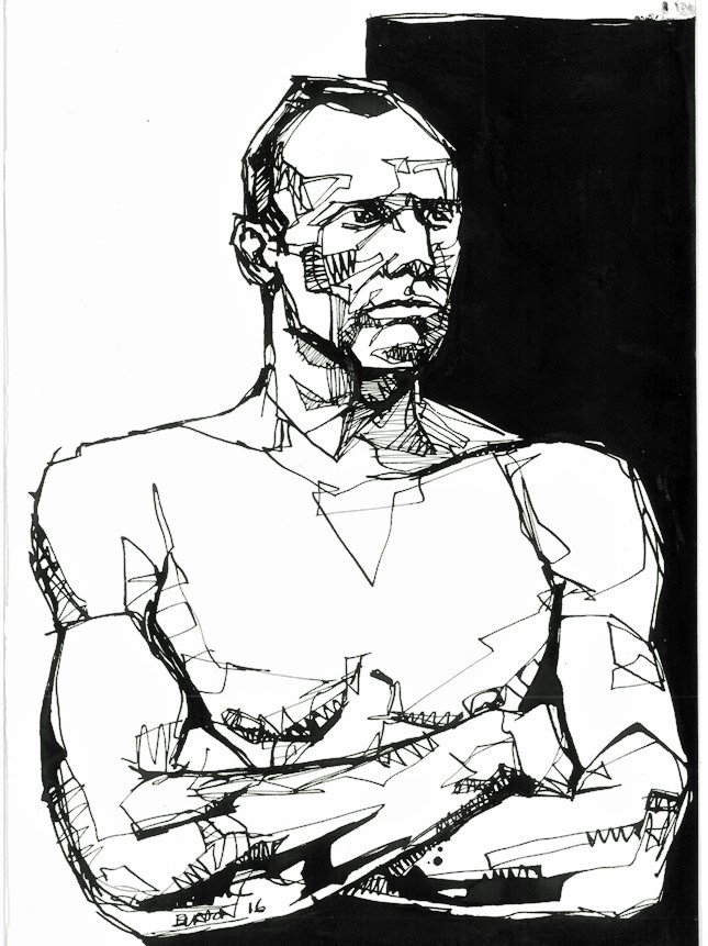 Bob Fitzsimmons. Ink drawing by Damien Burton.
