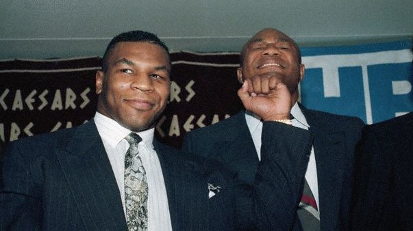 Tyson Pretend Punching George Foreman