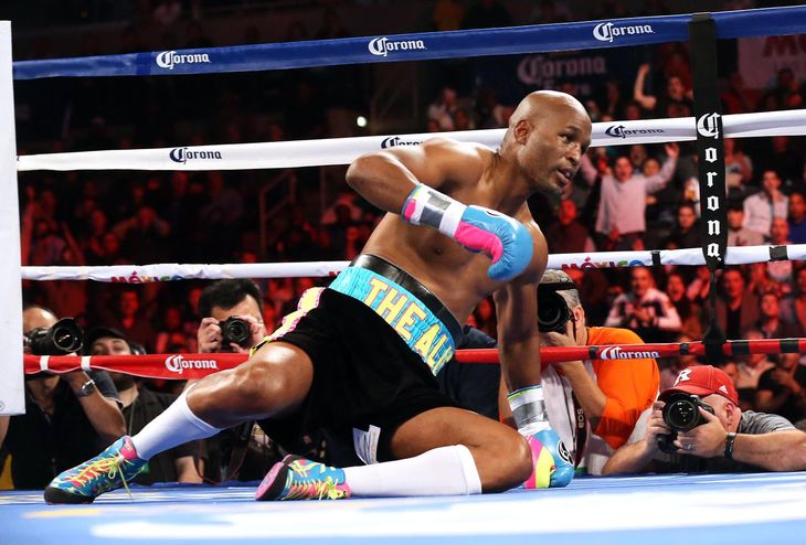 Hopkins hits the canvas in round one.