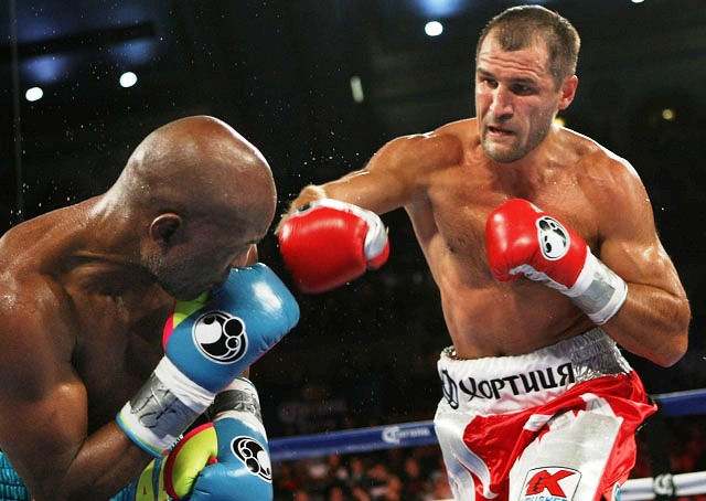 Kovalev pursues Hopkins.