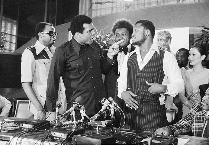 The one fighter Ali could not intimidate: jawing with the man he called 'Clay' in 1975.