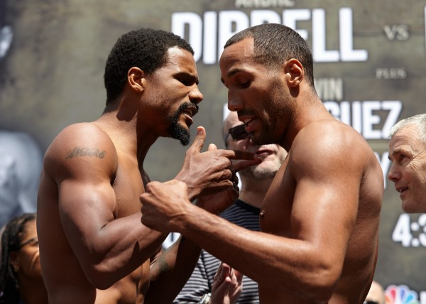 Dirrell and Degale get heated at the weigh-in.