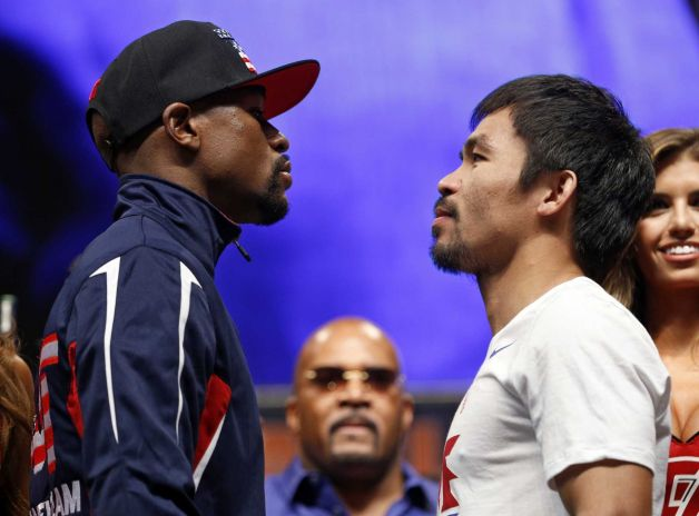 Mayweather and Pacquiao at the weigh-in.
