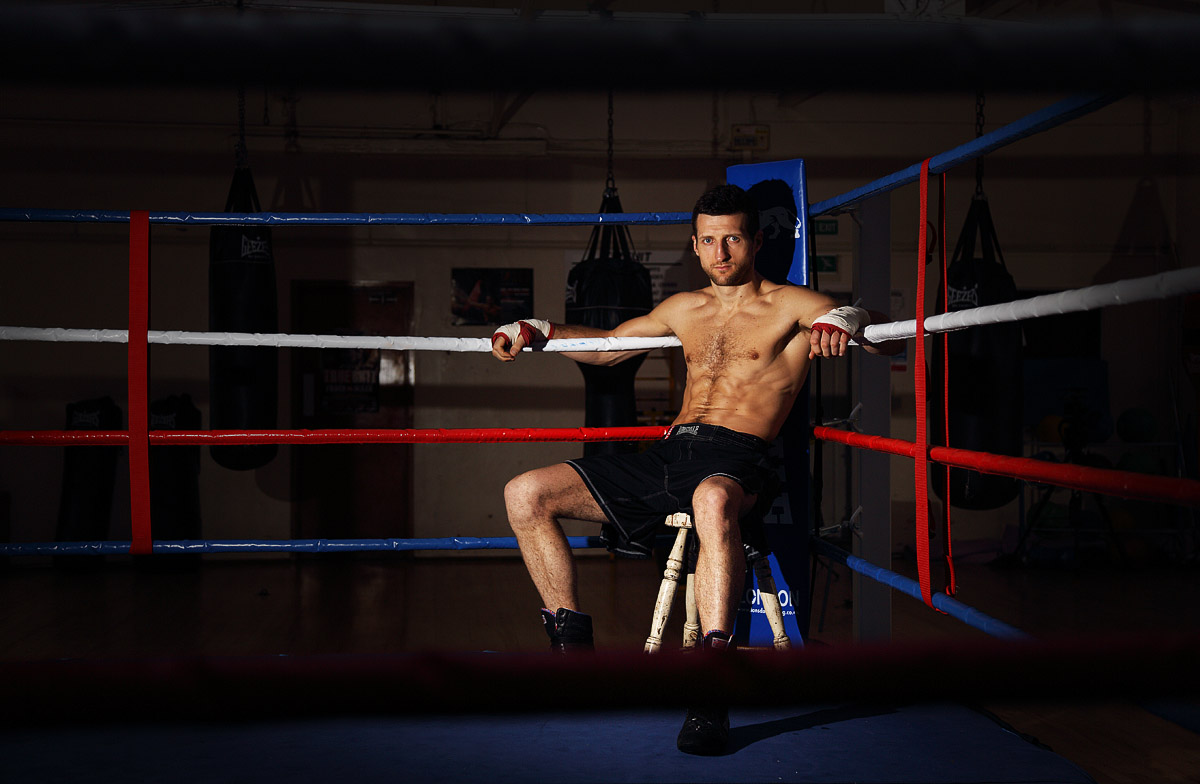 Carl Froch photographed by Sam Holden at The Phoenix Amateur Boxing Club, Nottingham, May 2013