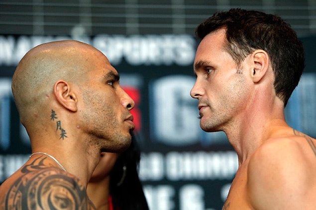 Cotto and Geale weigh in. No, the person on the right is not an actual zombie.