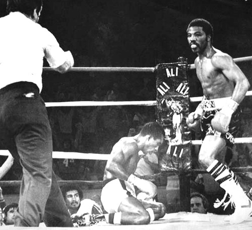 AUGUST 2, 1980: Aaron Pryor turns to referee Larry Rozadilla after knocking defending WBA junior welter weight champ Antonio Cervantes to the canvas in the fourth round of their title bout in Cincinnati's Riverfront Coliseum, Saturday, 8/2/80. AP Photo scanned November 18, 2011