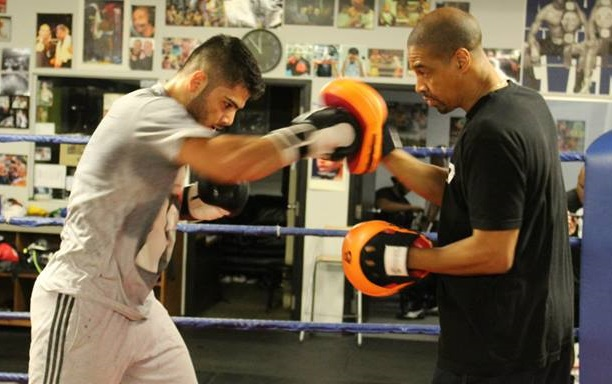 Working the pads with Howard Grant.