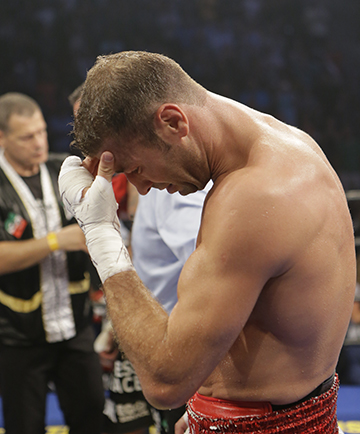 An emotional Bute after the fight.