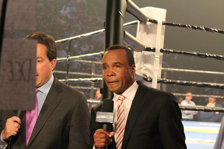 Sugar Ray Leonard at ringside doing commentary for PBC.