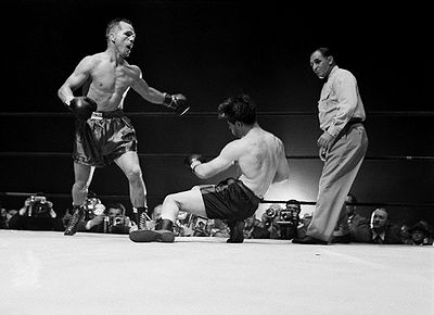 Zale knocking out Rocky Graziano.