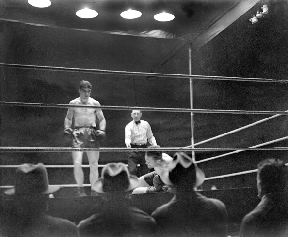 UNITED KINGDOM - JANUARY 18:  Young Stribling, the American boxer defeated Phil Scott, the British Champion, early in the 2nd round of their fight at the Wimbledon Stadium after knocking him down four times. The winner will probably meet Max Schmelling for the heavyweight championship of the world.  (Photo by Planet News Archive/SSPL/Getty Images)