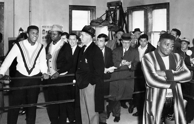 Ali (far left) taunts Patterson.