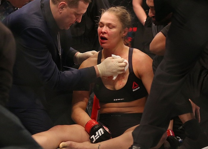 Rousey on the canvas