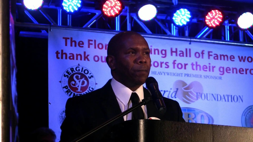Davis accepting his induction into the Florida Boxing Hall of Fame.