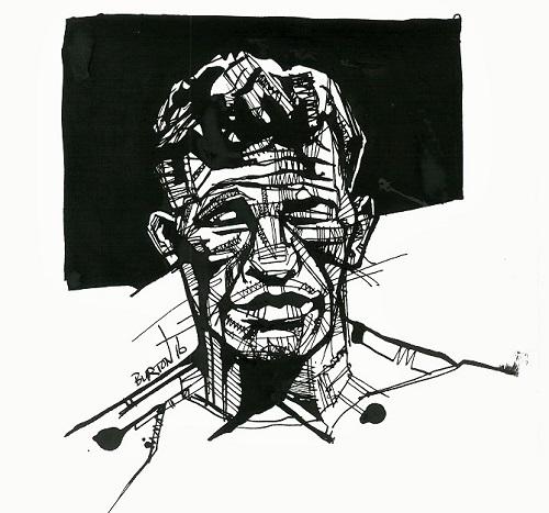Arturo Gatti: Ink drawing by Damien Burton.
