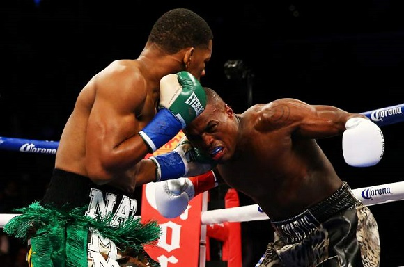 Quillin (right) on the defensive against Jacobs.