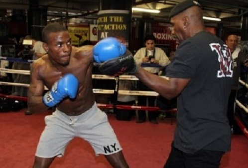 Quillin working with trainer Eric Brown.
