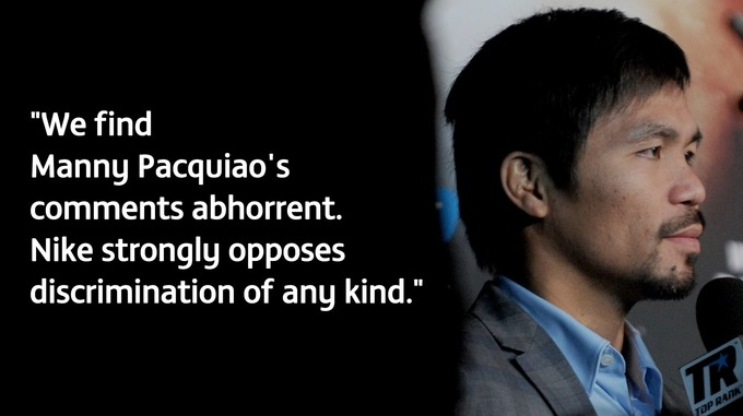 Nike wasted no time in severing their ties to Pacquiao