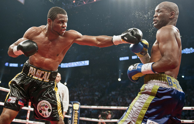Jean Pascal (L) of Canada punches Bernar